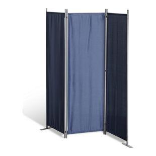 Grasekamp Paravent 3 teilig Blau Raumteiler  Trennwand Sichtschutz Stellwand