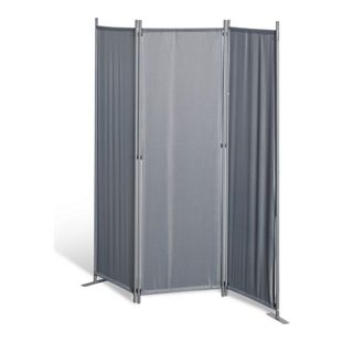 Grasekamp Paravent 3 teilig Grau Raumteiler  Trennwand Sichtschutz Stellwand