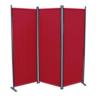 Grasekamp Paravent 3tlg Raumteiler Trennwand  Sichtschutz Rubinrot