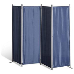 Grasekamp Paravent 4 teilig Blau Raumteiler  Trennwand Sichtschutz Balkontrennung