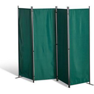 Grasekamp Paravent 4 teilig Grün Raumteiler  Trennwand Sichtschutz Balkontrennung
