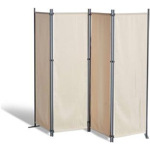 Grasekamp Paravent 4 teilig Beige Raumteiler  Trennwand Sichtschutz Balkontrennung