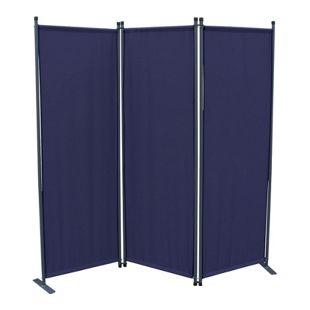 Grasekamp Paravent 3tlg Raumteiler Trennwand  Sichtschutz Blau mit Ersatz Bezug