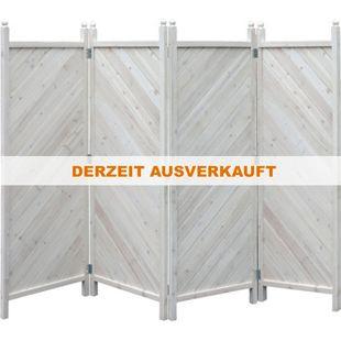 Grasekamp Paravent 4tlg Raumteiler Trennwand  Sichtschutz Kiefer Weiss München