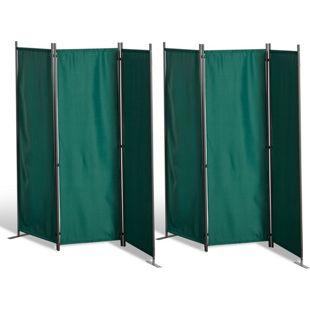 Grasekamp 2 Stück Paravent 3tlg Raumteiler  Trennwand Sichtschutz Grün