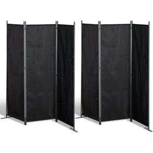 Grasekamp 2 Stück Paravent 3tlg Raumteiler  Trennwand Sichtschutz Schwarz