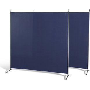 Grasekamp 2 Stück Stellwand 180 x 180 cm Blau  Paravent Raumteiler Trennwand  Sichtschutz