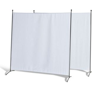 Grasekamp 2 Stück Stellwand 180 x 180 cm Weiß  Paravent Raumteiler Trennwand  Sichtschutz