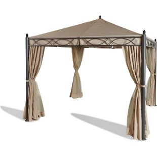 Grasekamp Garten-Pavillon ROM 3x3m mit 2  Seitenteil Sets geschlossen und mit  Moskito Netz Party-Zelt Terrassen-Dach