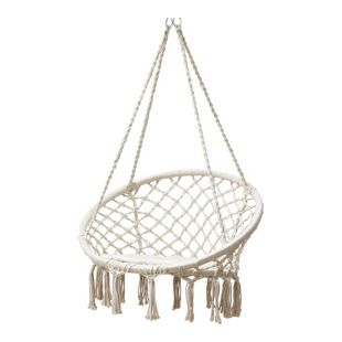 Grasekamp Hängesessel zum Aufhängen mit rundem  Sitzkissen Beige Belastbarkeit max. 100  kg Schwebesessel