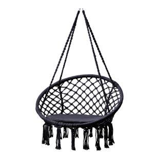 Grasekamp Hängesessel zum Aufhängen mit rundem  Sitzkissen Schwarz Belastbarkeit max.  100 kg Schwebesessel