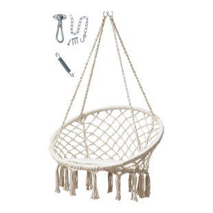 Grasekamp Hängesessel Beige mit Deckenbefestigung,  Spezialfeder und rundem Sitzkissen  Belastbarkeit max. 100 kg Schwebesessel