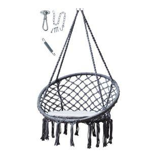 Grasekamp Hängesessel Grau mit Deckenbefestigung,  Spezialfeder und rundem Sitzkissen  Belastbarkeit max. 100 kg Schwebesessel