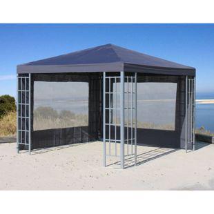 Grasekamp 2 Seitenteile Set mit PVC Fenster zu  Aluoptik Pavillon 3x3m Anthrazit