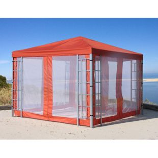 Grasekamp 4 Seitenteile mit Moskitonetz zu  Aluoptik Pavillon 3x3m Terrakotta