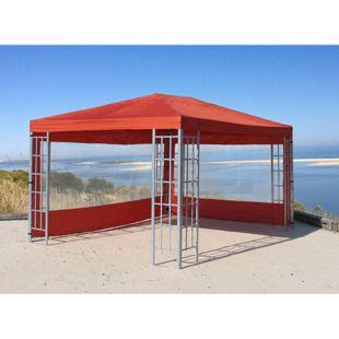 Grasekamp 2 Seitenteile mit PVC Fenster zu  Aluoptik Pavillon 3x4m Terrakotta  Rankpavillon