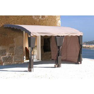 Grasekamp 3 Seitenteile zu Anbaupergola Mallorca  Rattan Taupe Sichtschutz Sonnenschutz