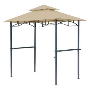 Grasekamp BBQ Grillpavillon 1,5x2,4m mit  Flammschutzdach und Abzug Sand  Unterstand Gazebo