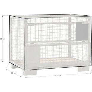Grasekamp Abdeckhaube Gitterbox 125 x 85 x 95 cm  PVC Transparent wasserdicht UV stabil  Schutzhaube Abdeckplane Staubschutz