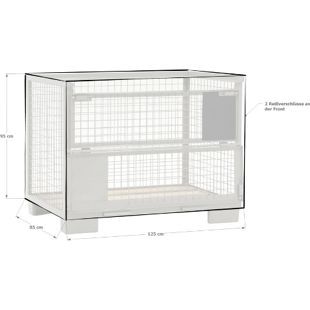 Grasekamp Abdeckhaube Gitterbox 125 x 85 x 95 cm  PVC Transparent mit Reißverschluss  wasserdicht UV stabil