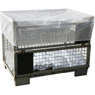 Grasekamp Abdeckhaube Gitterbox 127x87x30cm  Transparent mit Gummizug Schutzhaube  Abdeckplane Staubschutz Gittergewebe