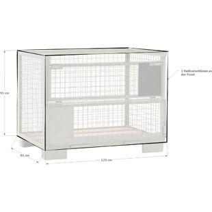 Grasekamp Abdeckhaube Gitterbox mit 2  Reißverschlüssen Abdeckplane Braun