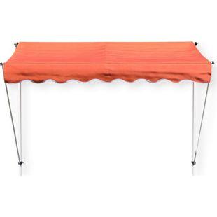 Grasekamp Klemmmarkise Ontario 250x130cm Orange  Balkonmarkise höhenverstellbar von 200  cm – 320 cm