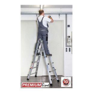 Euroline Alu Vario Leiter 4x4 Sprossen Premium  Line Mehrzweck Universal Höhe Stehleiter  195cm