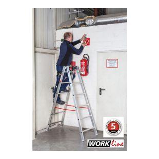 Euroline Alu Sprossen Stehleiter 2x4 Sprossen  Work Line Arbeitshöhe 2,32m