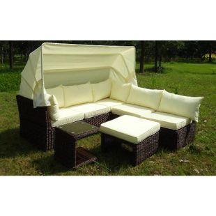 Baidani Rundrattan Garten Funktions-Lounge Skyfall mit Sonnendach