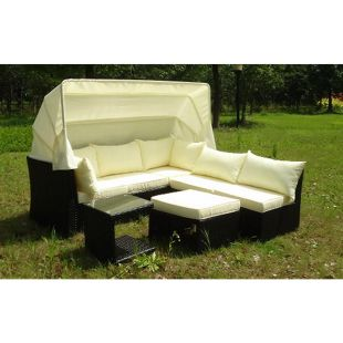 Baidani Rattan Garten Funktions-Lounge Sofa Weekend mit Sonnendach