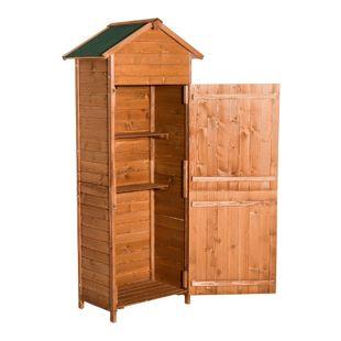 Outsunny Gerätehaus für Gartenwerkzeug natur und honig (per Zufall versendet) 79 x 49 x 190 cm (LxBxH) | Gartenschuppen Aufbewahrungsschrank Gartenhaus