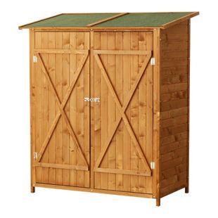 Outsunny Gerätehaus mit Doppeltür braun 140 x 75 x 160 cm (LxBxH) | Gartenschrank Holzschuppen Gartenaufbewahrung