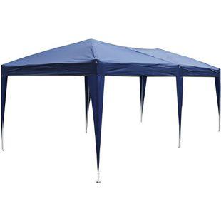 Outsunny Gartenpavillon mit Tragetasche blau 6 x 3 x 2,55 m (LxBxH) | Faltpavillon Partyzelt Faltzelt Bierzelt