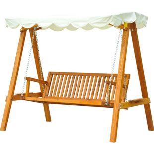 Outsunny Hollywoodschaukel als 3-Sitzer cremeweiß, natur 205 x 130 x 185 cm (LxBxH) | Schaukelbank Schaukel mit Sonnendach Gartenschaukel