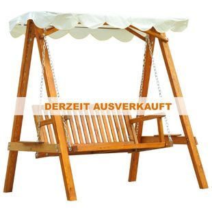 Outsunny Hollywoodschaukel als 2-Sitzer cremeweiß, natur 162 x 122 x 184 cm (LxBxH) | Schaukel mit Sonnendach Schaukelbank Gartenschaukel