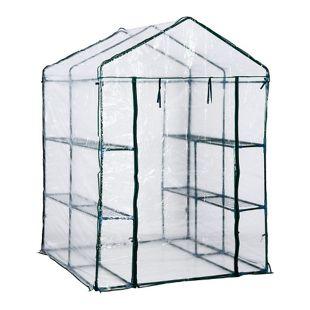 Outsunny Gewächshaus mit Ablagen transparent, dunkelgrün 143 x 143 x 195 cm (LxBxH) | Folienzelt Pflanzenhaus Frühbeet Pflanzenzucht