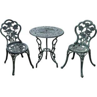 Outsunny Bistroset im Antik-Optik grün | 2 Sühle 1 Tisch, Aluminium, Balkonmöbel, Garten, Terrasse, Essgruppe
