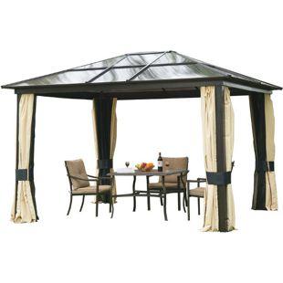 Outsunny Gartenzelt mit lichtdurchlässigem Dach schwarzbraun, natur 360 x 300 x 265 cm (LxBxH) | Luxus Pavillon Gartenpavillon Partyzelt Pavillon