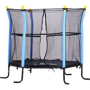 HOMCOM Mini-Trampolin für Kinder schwarz, blau 155 x 122,5 cm (ØxH)   Gartentrampolin Kindertrampolin Kids Trampolin