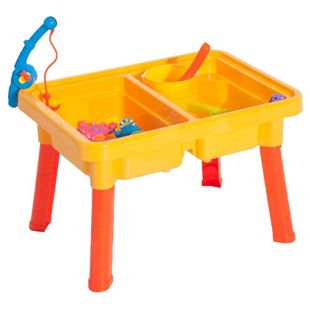 HOMCOM Kinder Sandkastentisch mit Zubehör bunt 57,5 x 41 x 37 cm (LxBxH) (ohne Zubehör) | Sandspielzeug Kinderspieltisch Wasserspielzeug