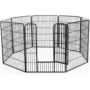 PawHut Freilaufgehege für Kaninchen, Welpen und Kleintiere schwarz | Freigehege Laufstall Welpenzaun Welpenauslauf
