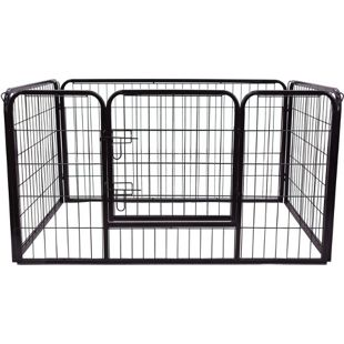 PawHut Welpenauslauf für Hasen/Kaninchen schwarz 125 x 80 x 70 cm (LxBxH) | Freigehege Laufstall Freilaufgehege Welpenzaun