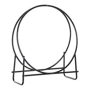 HOMCOM Kaminholzablage rund schwarz 102 x 40 x 114 cm (LxBxH) | Kaminholzständer Holzkörbe Kaminholzhalter Regal