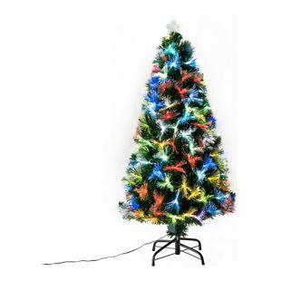 HOMCOM Weihnachtsbaum inklusive Metallständer grün 66 x 120 cm (ØxH) | Tannenbaum Christbaum LED Xmas tree Lichtfaser