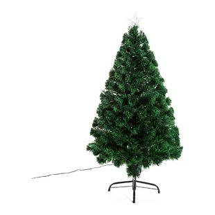 HOMCOM Weihnachtsbaum inklusive Metallständer grün 62 x 120 cm (ØxH) | Tannenbaum Christbaum LED Xmas tree Lichtfaser