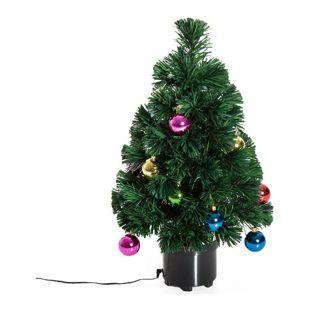 HOMCOM Drehbarer Weihnachtsbaum inklusive Kunststoffständer grün 35 x 60 cm (ØxH) | Tannenbaum Christbaum LED Xmas tree Lichtfaser