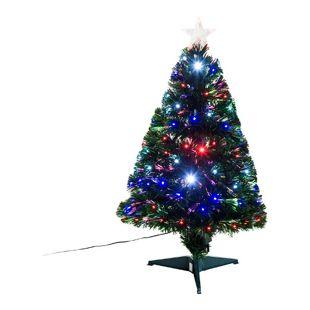 HOMCOM Künstlicher Tannenbaum inklusive Metallständer grün 48 x 90 cm (ØxH) | Weihnachtsbaum Christbaum LED Xmas tree Lichtfaser