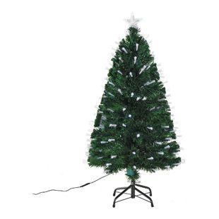 HOMCOM Künstlicher Weihnachtsbaum mit Metallständer grün 60 x 120 cm (ØxH) | Tannenbaum Christbaum LED Xmas tree Lichtfaser