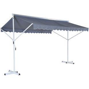 Outsunny Standmarkise mit Standfüßen grau 2,95 x 3,45 x 2,6 m (LxBxH) | Markise Gartenmarkise Sonnenschutz Doppelmarkise